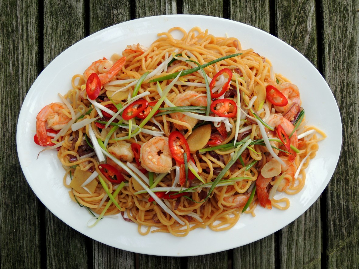 Pasta, lo mian with bean sprouts, chili, scallions and shrimp 1