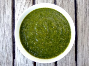 Condiments, chutneys, podina chatni (fragrant mint sauce) 1