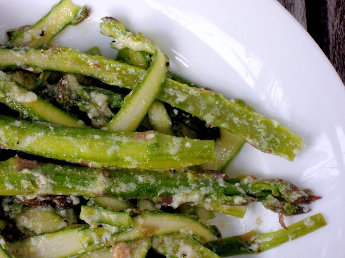 Salads, vegetable, asparagus, shaved with Parmesan dressing 2
