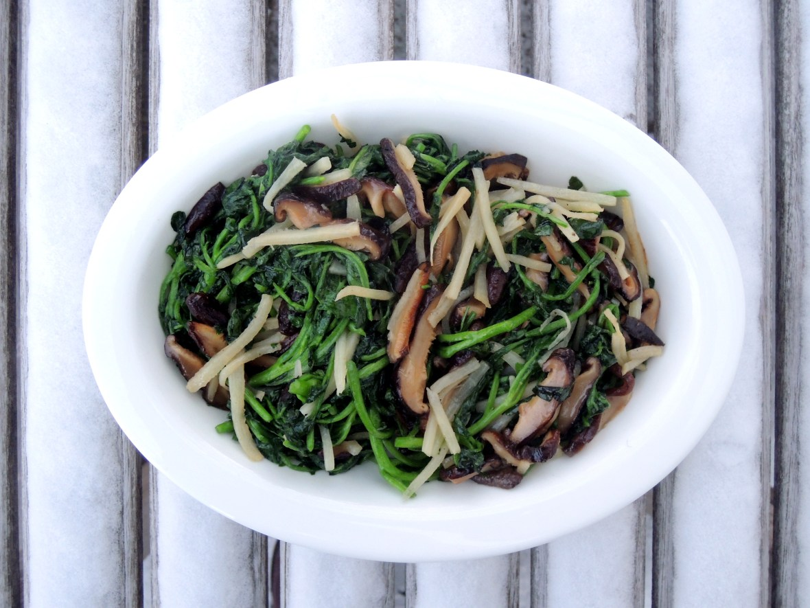 Vegetables, watercress, stir fried watercress with bamboo shoots and Chinese black mushrooms 1