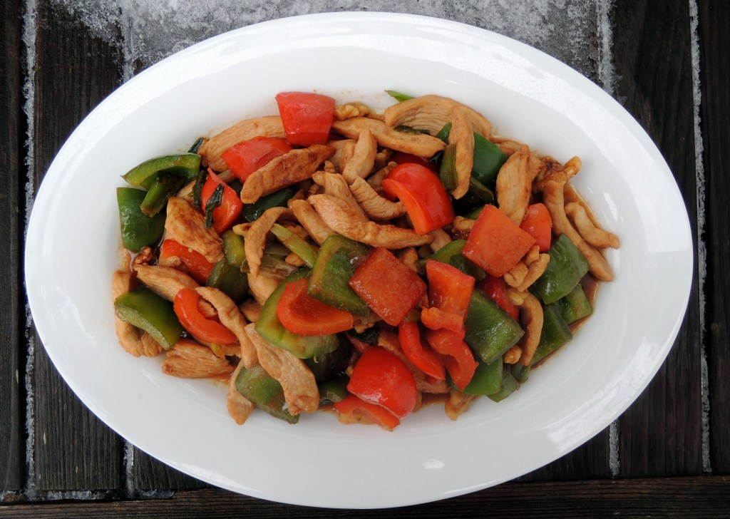 Stir-frys, Lomay's chicken with bell peppers and walnuts 1