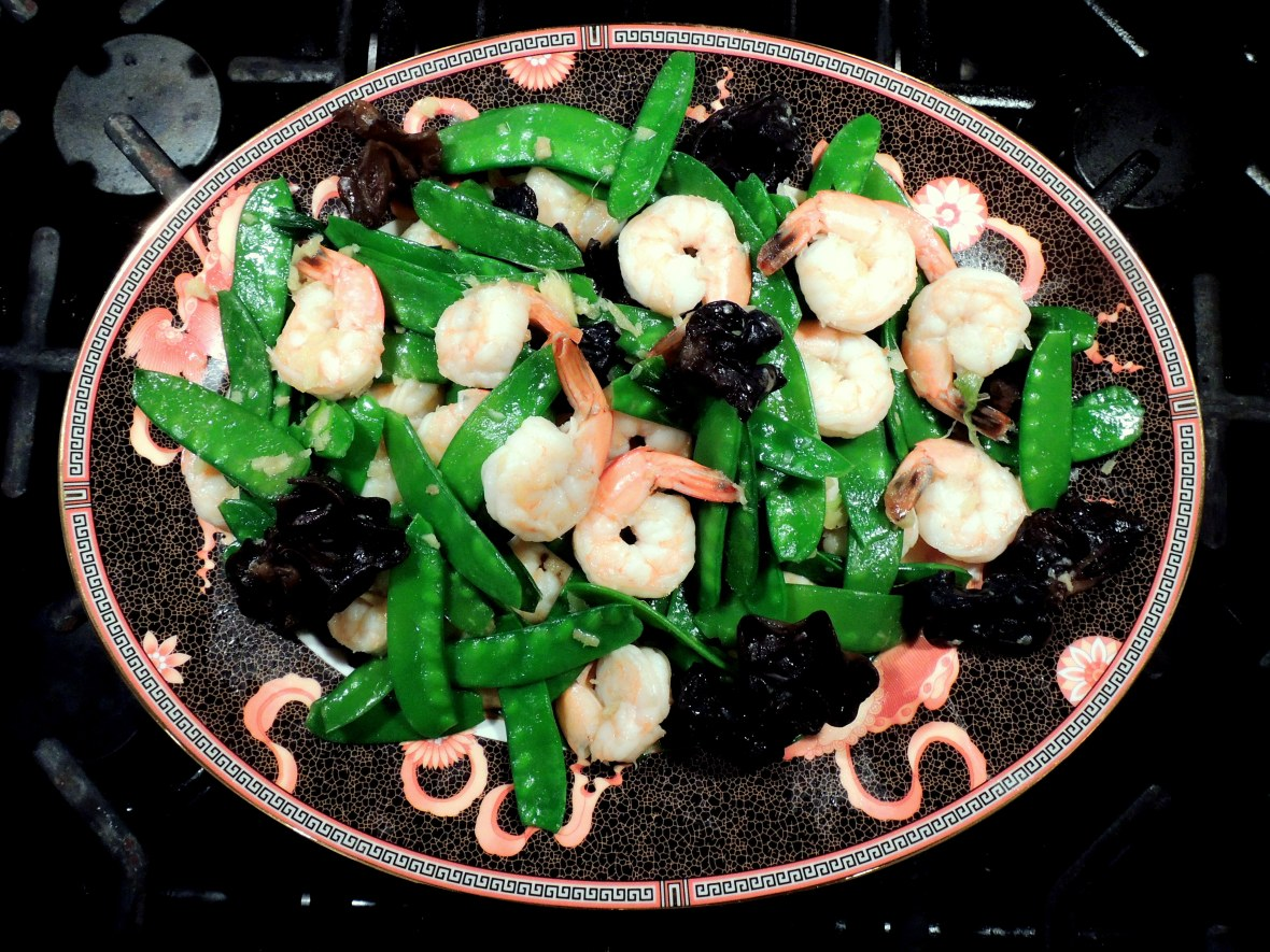 Stir-frys, Lomay's shrimp with snow peas and wood ears 1