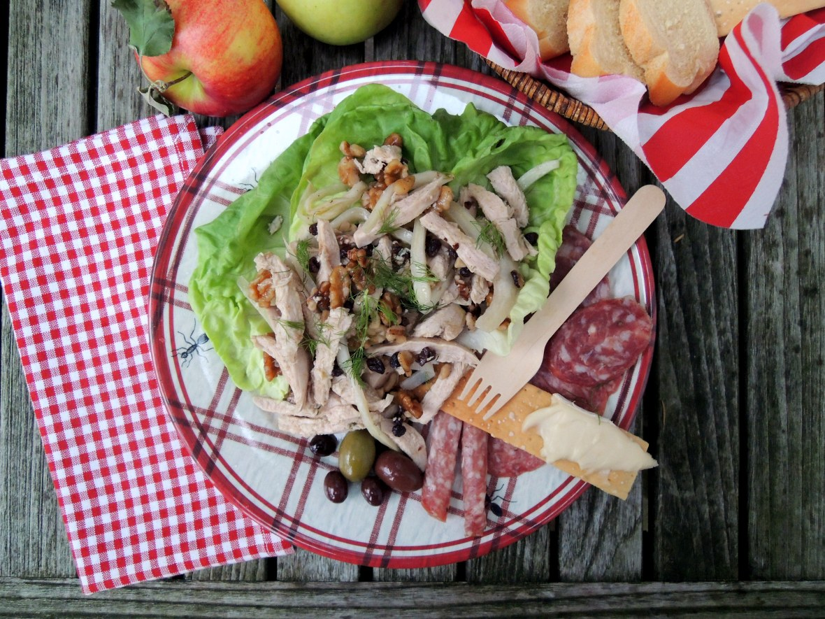 Picnics, apple picking, chicken salad with currants, fennel and walnuts 1