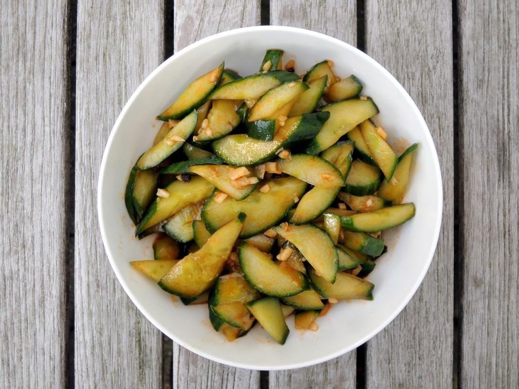 Salads, cucumber, Sichuan smacked cucumber in garlicky sauce 1