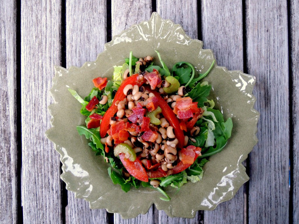 Salads, bean, black eyed pea and bacon salad with mustard vinaigrette 1