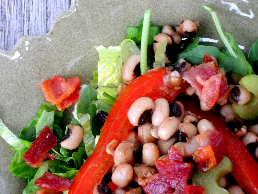 Salads, bean, black eyed pea and bacon salad with mustard vinaigrette 2