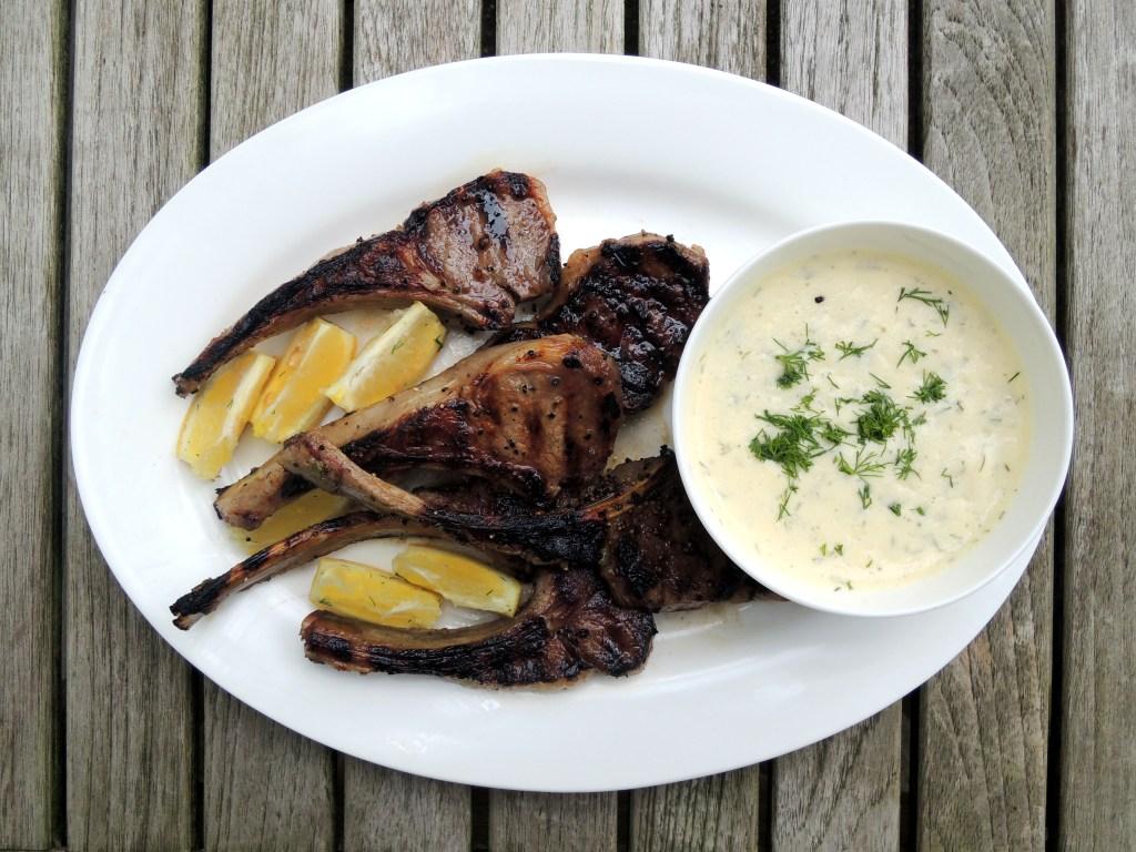 Lamb, pan-grilled rib lamb chops with avgolemono sauce 1