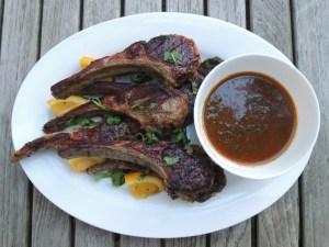 Lamb, pan-grilled rib lamb chops with herb sauces 1