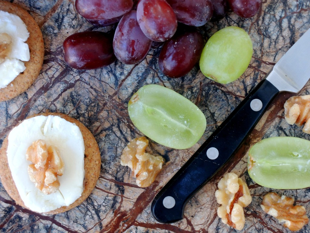 Desserts, cheese and fruit, grapes and chevre with honey 2