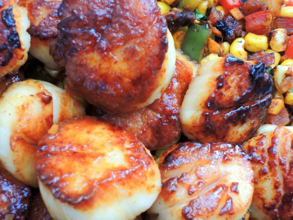 Scallops, pan-seared sea scallops with bacon corn relish 2