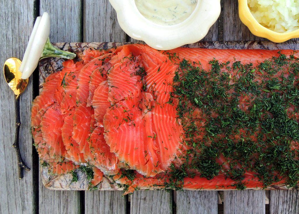 Appetizers, fish, gravlax (Swedish dilled salmon) 2