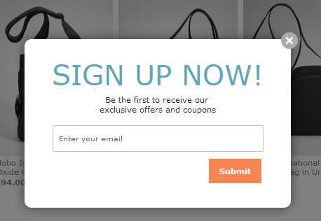 Sign up popup example