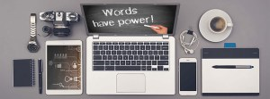 Computer screeen with Words Have Power image on it