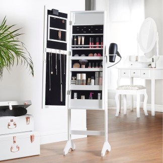 Beautify White LED Armoire Storage Mirror