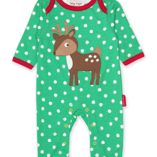 Toby Tiger Deer Applique Organic Sleepsuit