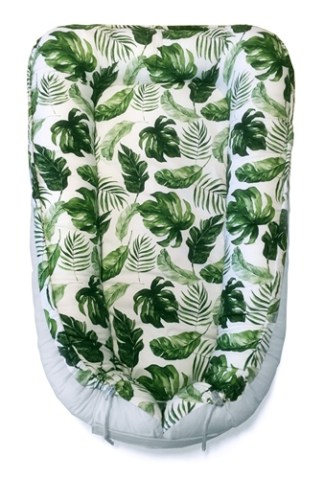 Eko EKO Reversible Cotton Baby Cocoon - Green Leaves