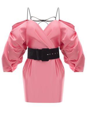 Cold Shoulder Satin Mini Dress Pink