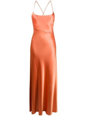Serena Satin Apricot Dress