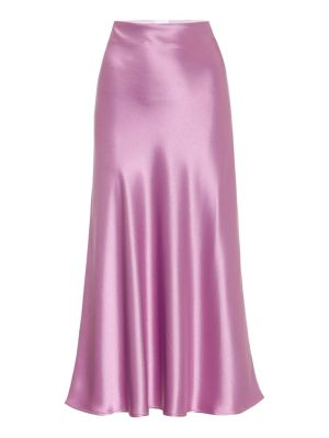 Purple Satin Valletta Midi Skirt