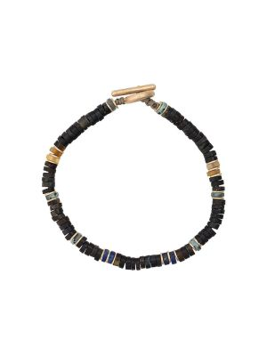 Blue Tiger Eye And 18k Yellow Gold Gemstone Bracelet