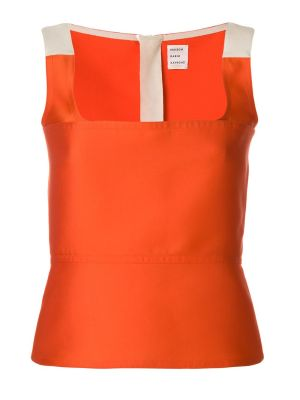 Orange Fitted Woven Top
