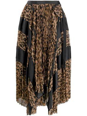 Asymmetric Leopard Print Skirt