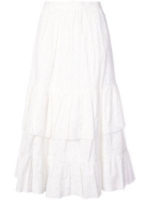 Embroidered Flared Midi Skirt