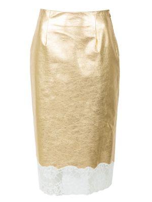 Gold Plonge Leather Skirt
