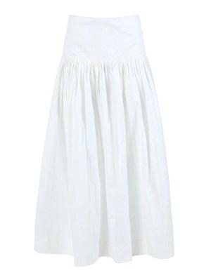 White Ruched Midi Skirt