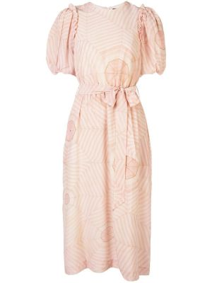 Pink Puffed Sleeve Dress