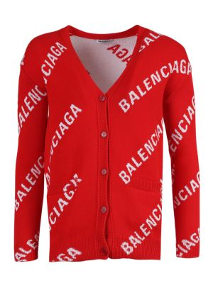 Red And White Logo Cardigan