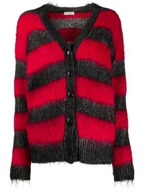 Red And Black Striped Lurex Cardigan