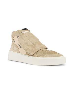 Suede High Top Skate Sneaker Sand And Cream Monogram