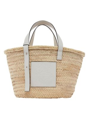 White And Natural Basket Bag