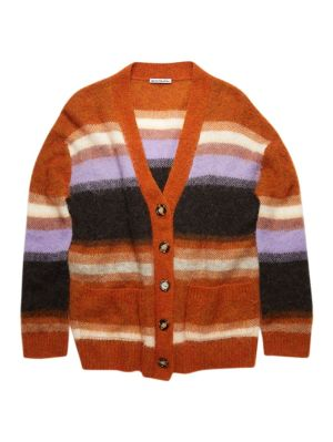 Striped Wool Blend Cardigan, Pumpkin Orange