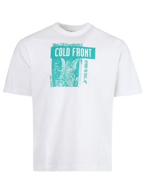 White And Teal Graphic T-shirt
