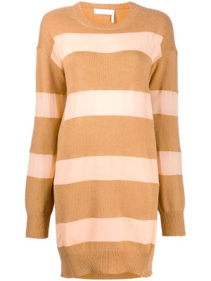 Striped Camel And Pink Knit Dress