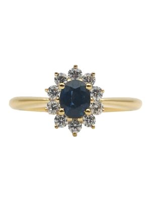 Raised Sapphire & White Diamond Ring