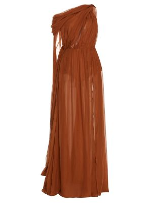 Silk Draped Evening Gown Brown