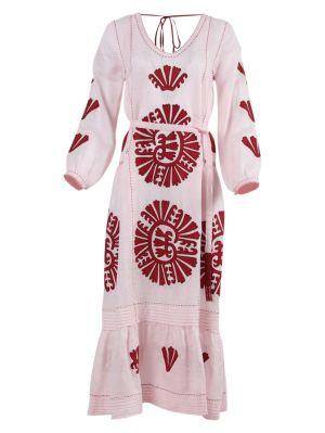 Camilia Pleated Linen Midi Dress Pink