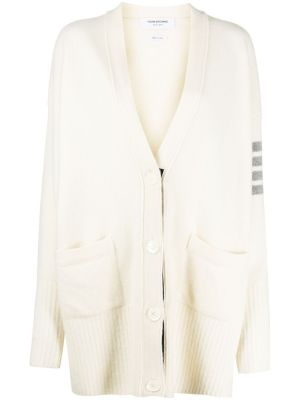 Exaggerated Fit V-neck Cardigan, White