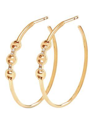 Mini Hoop Earrings With Diamond Bridges