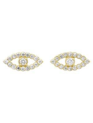 Mini Open Evil Eye Diamond Stud Earrings