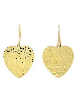 18k Yellow Gold Hammered Heart Drop Earrings