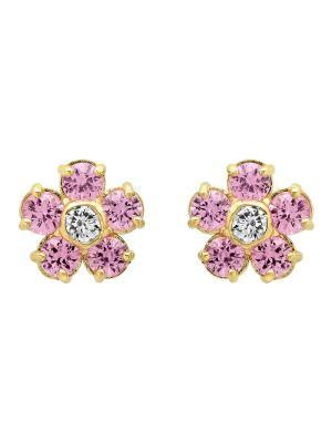 Sapphire With Diamond Center Flower Studs