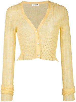 Yellow Semi-sheer Cropped Cardigan
