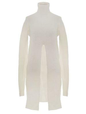 Ivory Angora Wool Slit Sweater