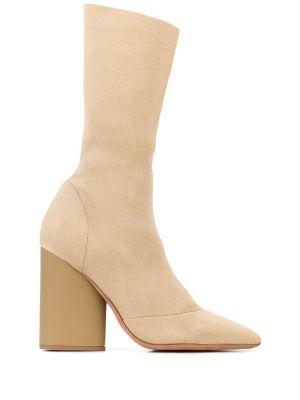 High-heel Sock Boot Brown