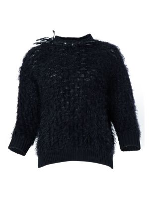 Frayed Crystal Embellished Knit Top