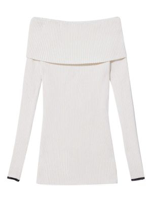Chunky Rib Knit Off The Shoulder Long Sleeve Top